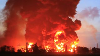 A massive fire rages at the Balongan refinery, operated by state oil company Pertamina.