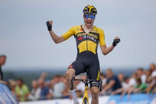 Timo Roosen (Jumbo-Visma) celebrates his victory in the Dutch championships