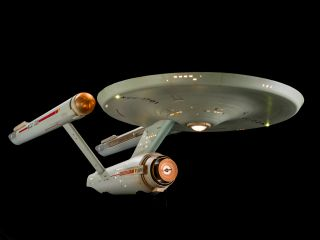 The fully restored studio model of the starship USS Enterprise, from the TV series Star Trek, which is on display at the Smithsonian National Air and Space Museum in Washington, D.C.