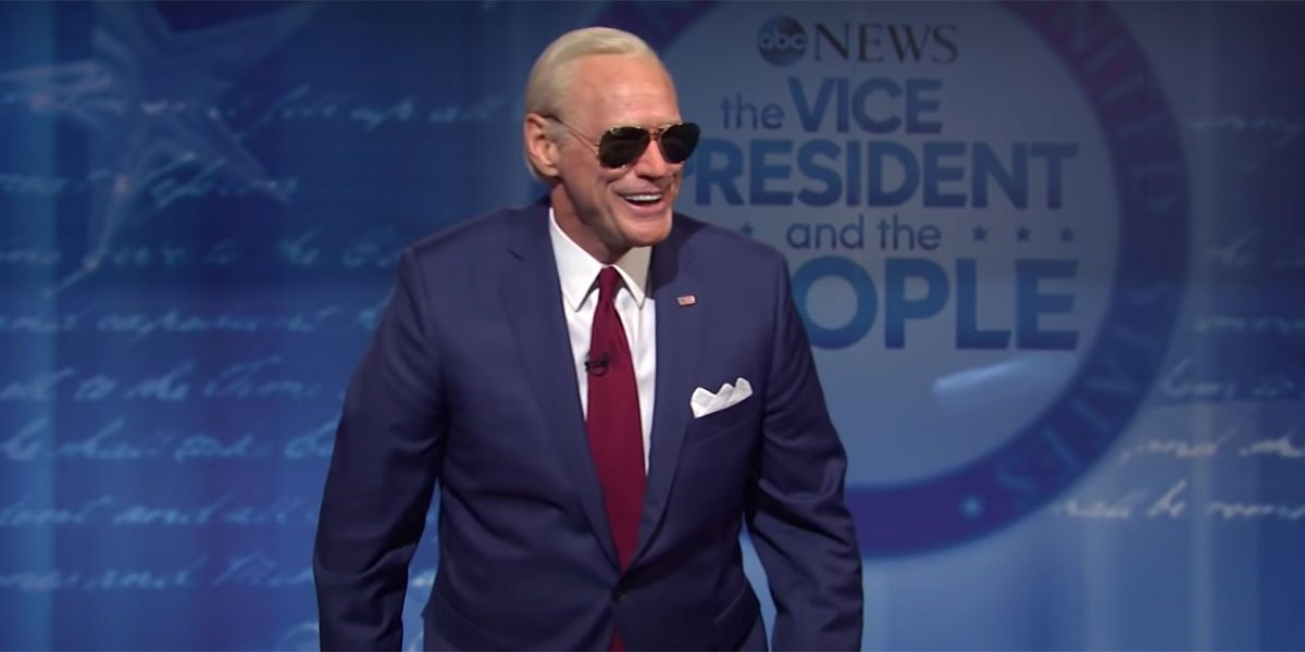 Jim Carrey with sunglasses on playing Joe Biden on SNL.
