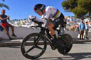 LAGOA PORTUGAL FEBRUARY 23 Rohan Dennis of Australia and Team INEOS Carvoeiro Village Fans Public during the 46th Volta ao Algarve 2020 Stage 5 a 203km Individual Time Trial stage from Lagoa to Lagoa ITT VAlgarve2020 on February 23 2020 in Lagoa Portugal Photo by Tim de WaeleGetty Images