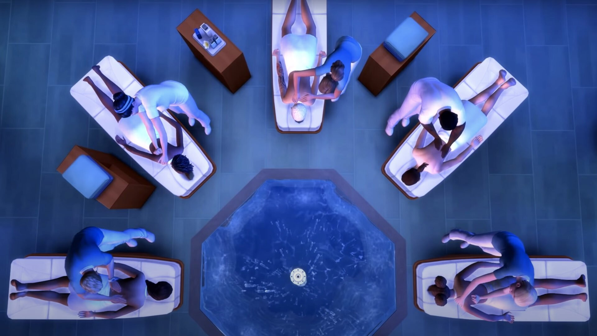 The Sims 4 DLC showing Sims getting a massage