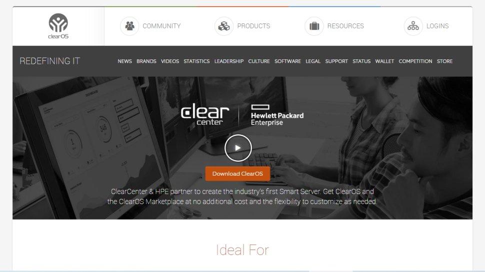 Website screenshot for ClearOS