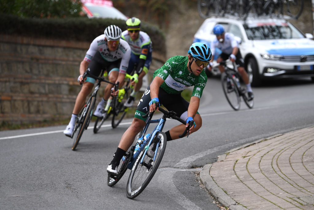 CHIUSDINO ITALY MARCH 11 Vincenzo Albanese of Italy and EoloKometa Cycling Team Green Mountain Jersey during the 56th TirrenoAdriatico 2021 Stage 2 a 202km stage from Camaiore to Chiusdino 522m Breakaway TirrenoAdriatico on March 11 2021 in Chiusdino Italy Photo by Tim de WaeleGetty Images