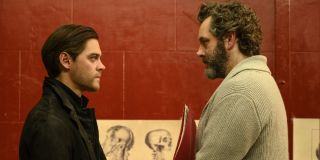 Tom Payne as Malcolm Bright and Michael Sheen as Martin Whitly in Prodigal Son.
