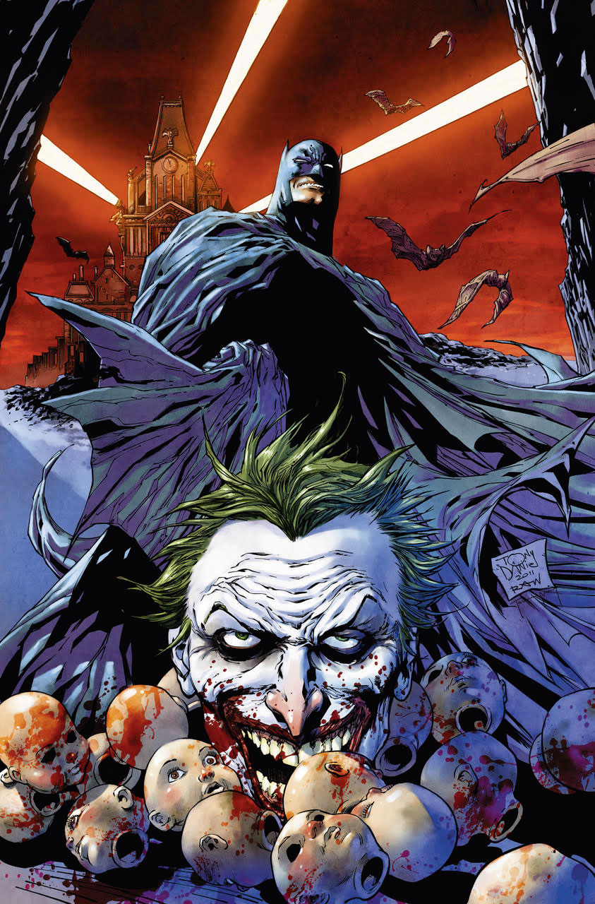 Batman looking down on the Joker surrounded by doll heads