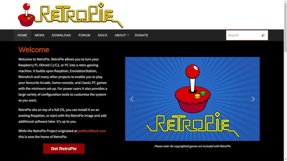 Website screenshot for RetroPie