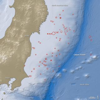 This map shows the location of the March 11, 2011 earthquake in Japan, as well as the foreshocks (dotted lines), including a 7.2-magnitude event on March 9, and aftershocks (solid lines). The size of each circle represents the magnitude of the associated