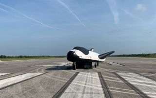 The Sierra Nevada Corporation's Dream Chaser space plane, shown here in an inflatable version, will use NASA's space shuttle runway at the Kennedy Space Center in Florida to land after future space missions.