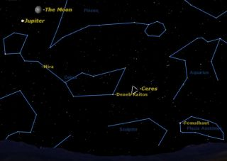 The dwarf planet Ceres is in opposition this Friday September 16 in the constellation Cetus.