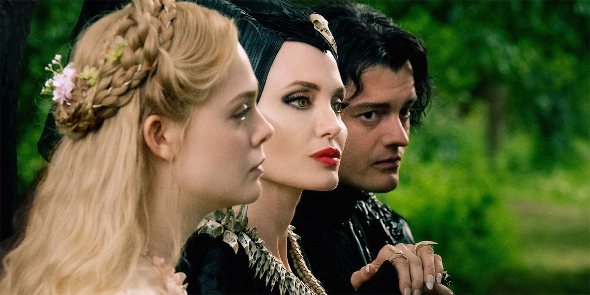 Elle Fanning Angelina Jolie and Sam Riley in Maleficent Mistress of Evil