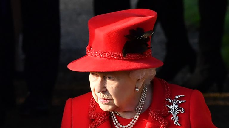 Queen Elizabeth II leaves after the Royal Family's traditional Christmas Day service at St Mary Magdalene Church in Sandringham