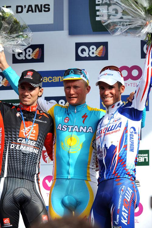Alexandre Vinokourov wins, Alexandr Kolobnev 2nd, Alejandro Valverde 3rd, Liege-Bastogne-Liege 2010