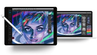 Drawing tablet with Photoshop used to paint a woman's face