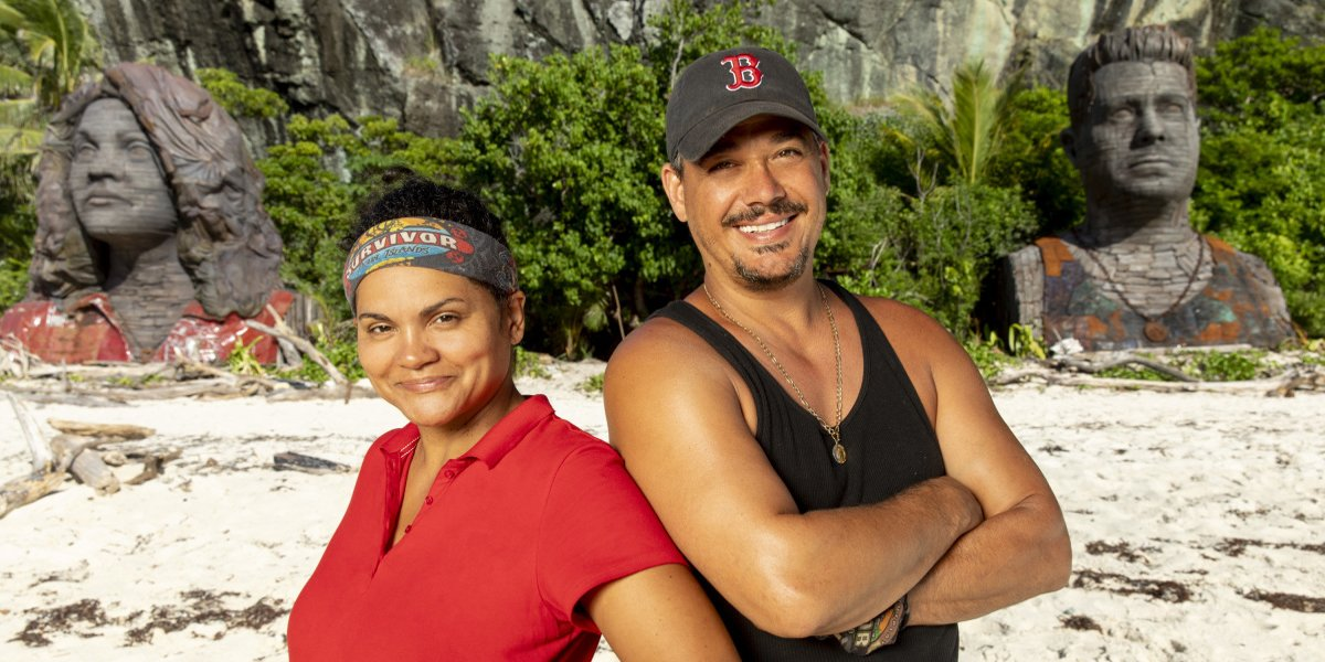 Survivor: Island of the Idols Sandra Diaz-Twine and Boston Rob Mariano with statues CBS