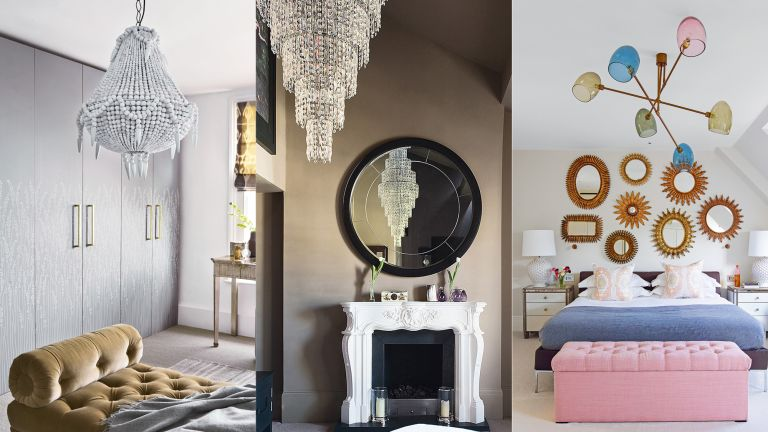 An example of bedroom chandelier ideas showing a composite of three images showing white, silver and multi colored bedroom chandeliers