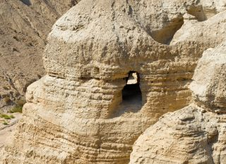 "The newly deciphered Dead Sea Scroll was found in ""cave four"" (shown here), near the site of Qumran in Israel."