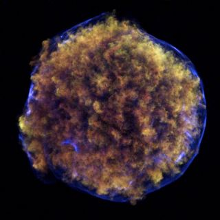 This new image of Tycho's supernova remnant, Tycho for short, contains striking new evidence for what triggered the original supernova explosion, as seen from Earth in 1572.