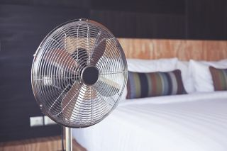 A fan in a bedroom.