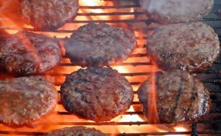 hamburger on grill