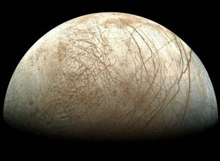 Juptier's moon Europa, as viewed from NASA's Galileo spacecraft.