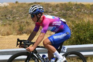 Remco Evenepoel in the Vuelta a Burgos leader's jersey