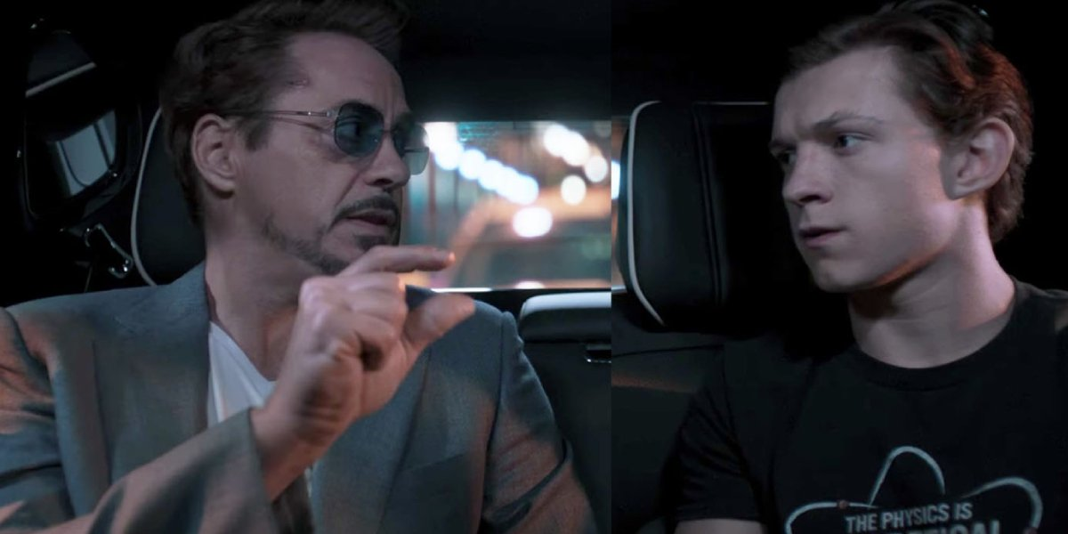 Robert Downey Jr. and Tom Holland in Spider-Man: Homecoming
