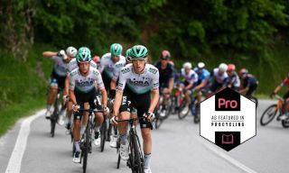 Bora-Hansgrohe patrol the front of the peloton on stage 3 of the Giro d'Italia