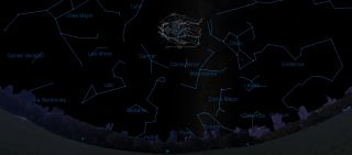 This sky map shows the location of the constellation Gemini and its star pattern in relation to other constellations in the night sky in early evening as seen from mid-northern latitudes.