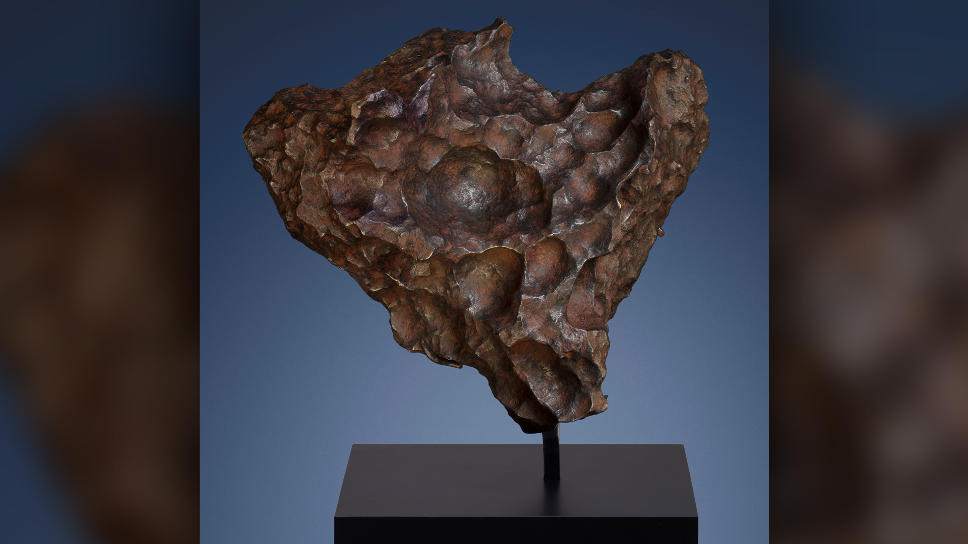 A piece of the Gibeon meteorite, which originated as the iron core of an asteroid that formed 4.5 billion years ago.