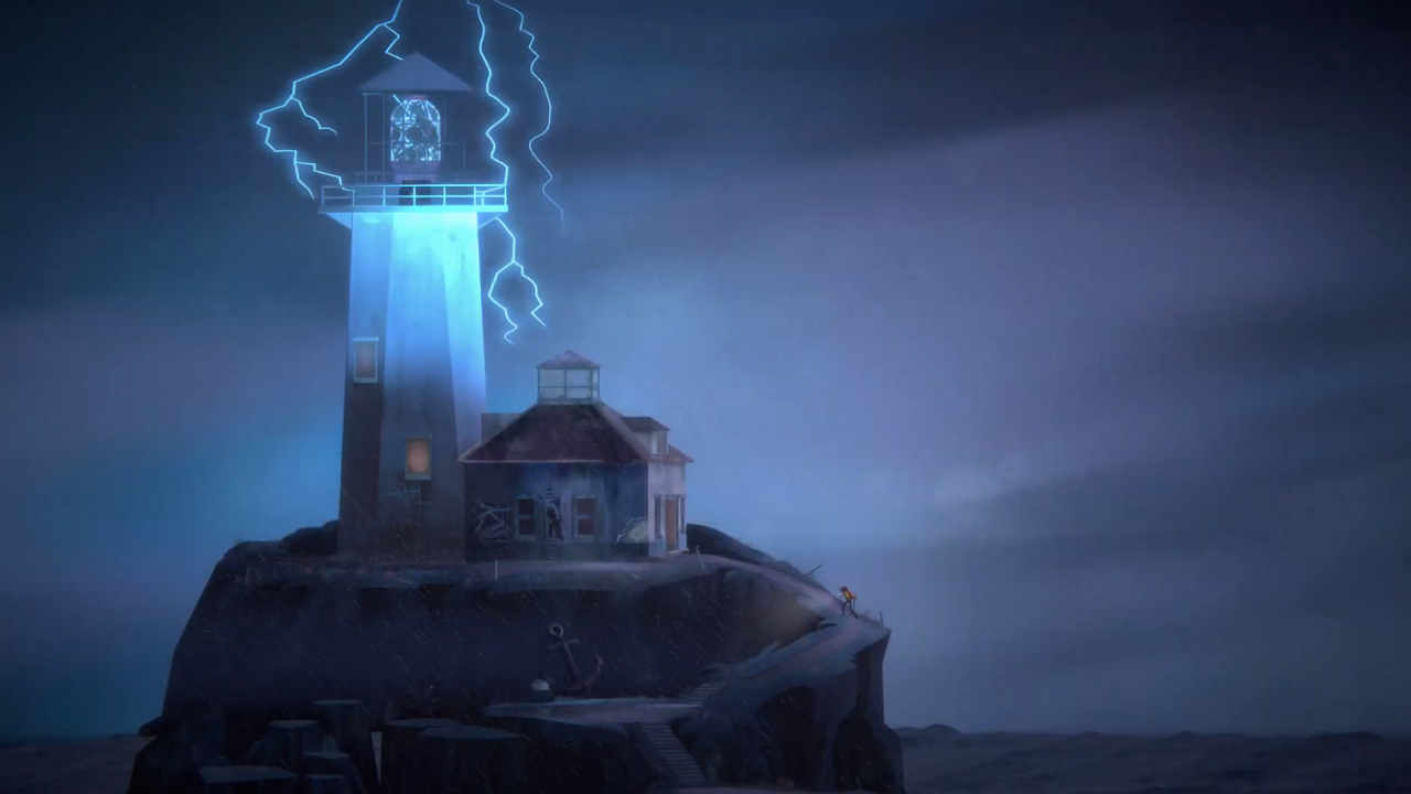 oxenfree 2: a house with a lighthouse sits on a rock at sea, the lighthouse is conducting electricity