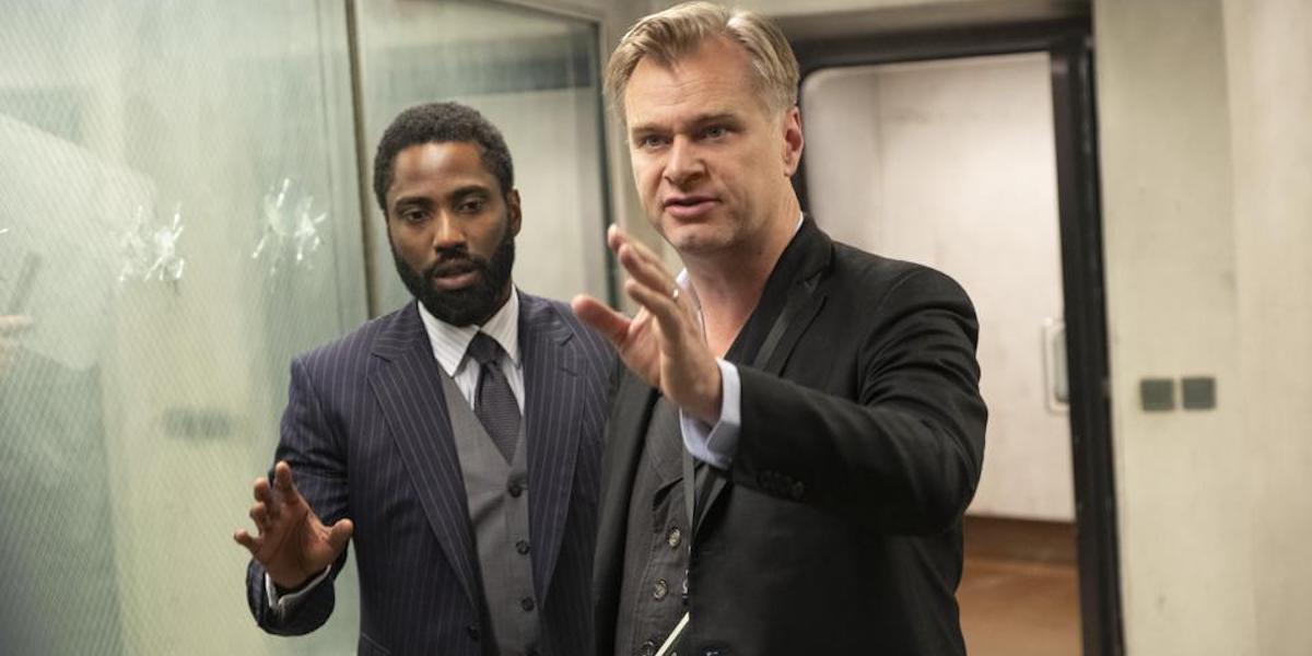 John David Washington and Christopher Nolan on the set of Tenet
