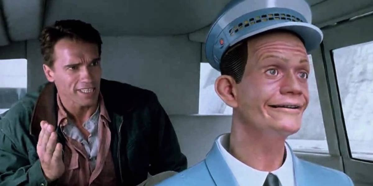 Arnie in the backseat total recall