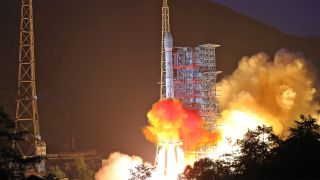 A Long March 3B rocket carrying the Chinasat-18 communications satellite lifts off from the Xichang Satellite Launch Center in China's Sichuan province on Aug. 19, 2019.