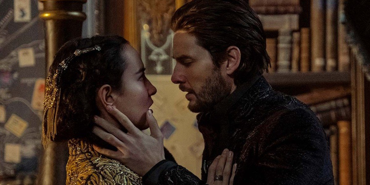 Jessie Mei Li and Ben Barnes as Alina and the Darkling about to kiss in Shadow and Bone