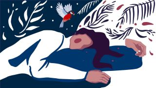 How to sleep for longer at night: An illustration of a woman asleep on a deep blue pillow