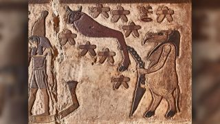 Here is the ancient Egyptian depiction of the Big Dipper, seen here in the shape of a bull's leg. It includes seven stars and is tied to a stake by a goddess in hippo form (right). The Big Dipper is considered the manifestation of the evil god Seth, who murdered his brother Osiris. The goddess prevents Seth from reaching Osiris in the underworld — a myth made possible because the constellation never dips below the horizon.