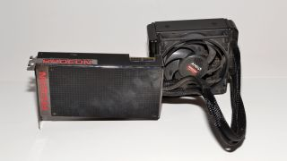 Radeon R9 Fury X, hailing from 2015, a bit worse for wear. Sorry about the dust!