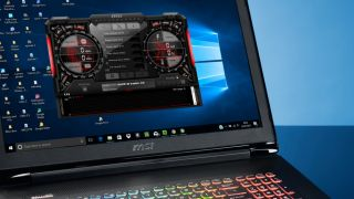 MSI Afterburner running on a gaming laptop