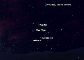 Jupiter-Venus-Aldebaran-Moon Conjunction Sky Map July 2012