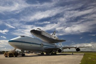 Space shuttle Endeavour stands atop the Shuttle Carrier Aircraft ahead of its flight to Los Angeles.