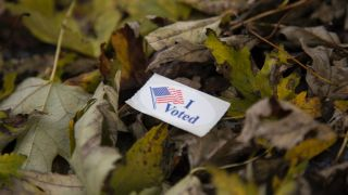 """""""I voted"""" sticker atop pile of fall leaves"""