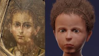 "The young boy's ""mummy portrait"" next to the newly created 3D facial reconstruction."