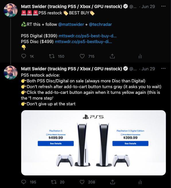 PS5 restock tweet by Matt Swider