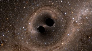 A simulated image of two black holes colliding.