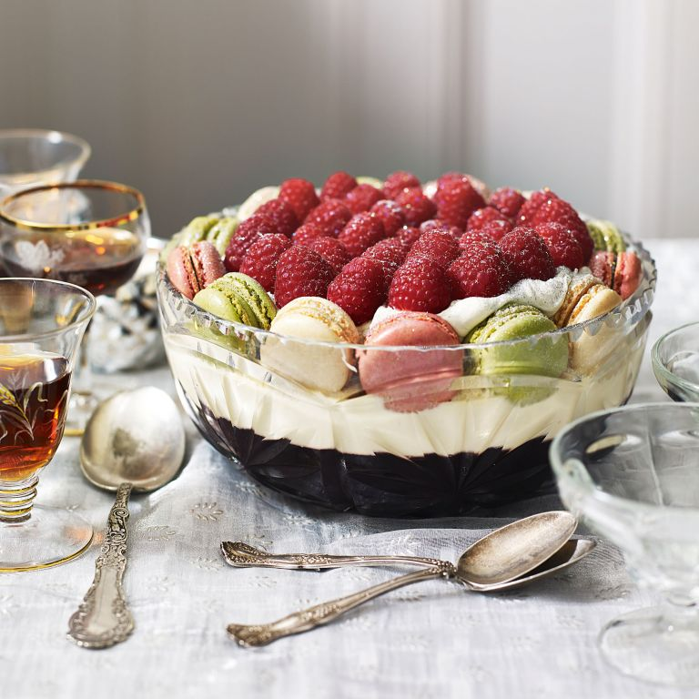 Sloe Gin Jelly and Macaron Trifle