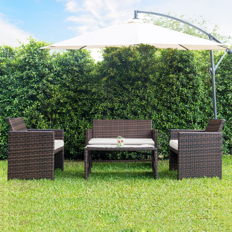 Gymax 4 PC Rattan Patio Furniture Set