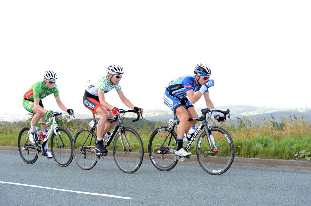 Fenn, Hampton and Van Poppel in break, Tour of Britain 2011, stage three