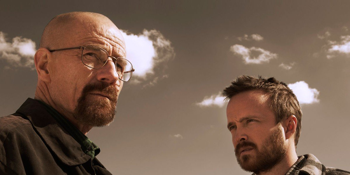 From left to right: Bryan Cranston and Aaron Paul
