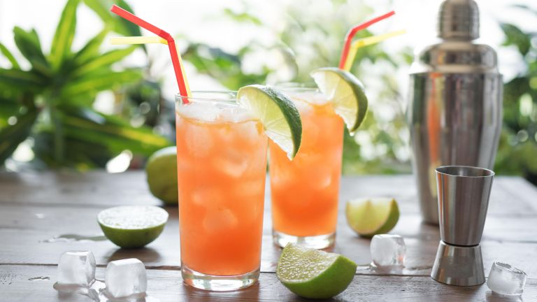 Zombie Cocktail with Rum, garnished with lime